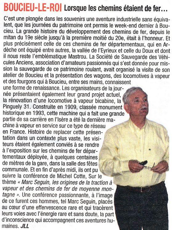 Article publié dans le Journal Tournon Tain du 19 septembre 2013